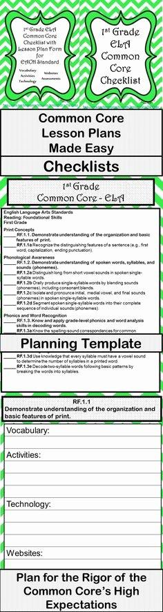 Lesson Plan Template Common Core Elegant Mon Core On Pinterest