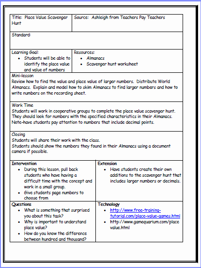 Lesson Plan Template Common Core Lovely Free Mon Core Lesson Plan Template