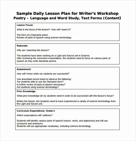 Lesson Plan Template Daily Awesome 7 Sample Daily Lesson Plans