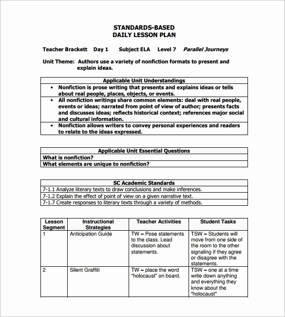 Lesson Plan Template Daily Inspirational Sample Lesson Plan Template