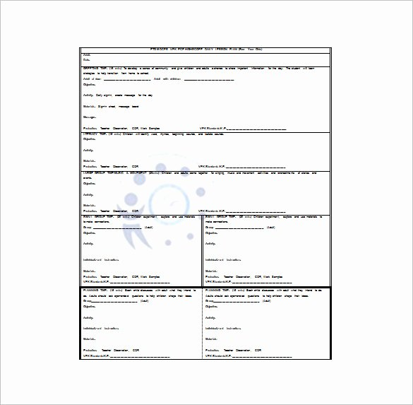 Lesson Plan Template Daily Lovely 20 Preschool Lesson Plan Templates Doc Pdf Excel
