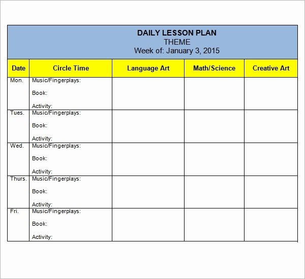 Lesson Plan Template Daily Luxury Free 10 Sample Preschool Lesson Plan Templates In Google