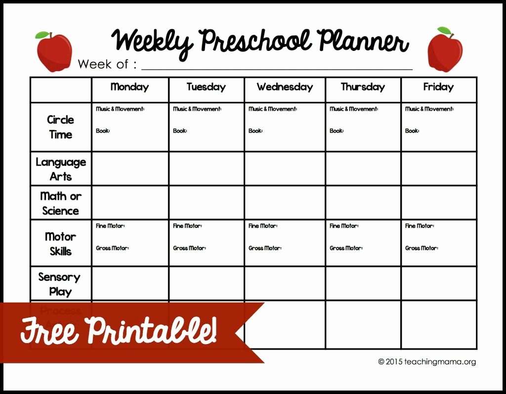 Lesson Plan Template Free Printable Inspirational Weekly Lesson Plan Template for Preschool