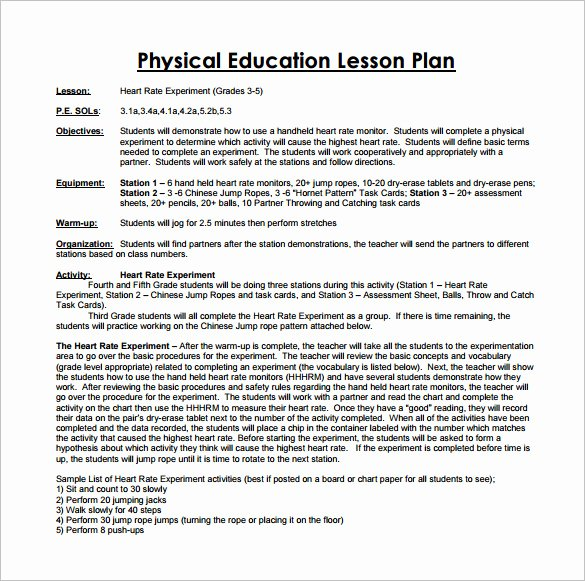 Lesson Plan Template Nyc Awesome 7 Physical Education Lesson Plan Templates Word Apple