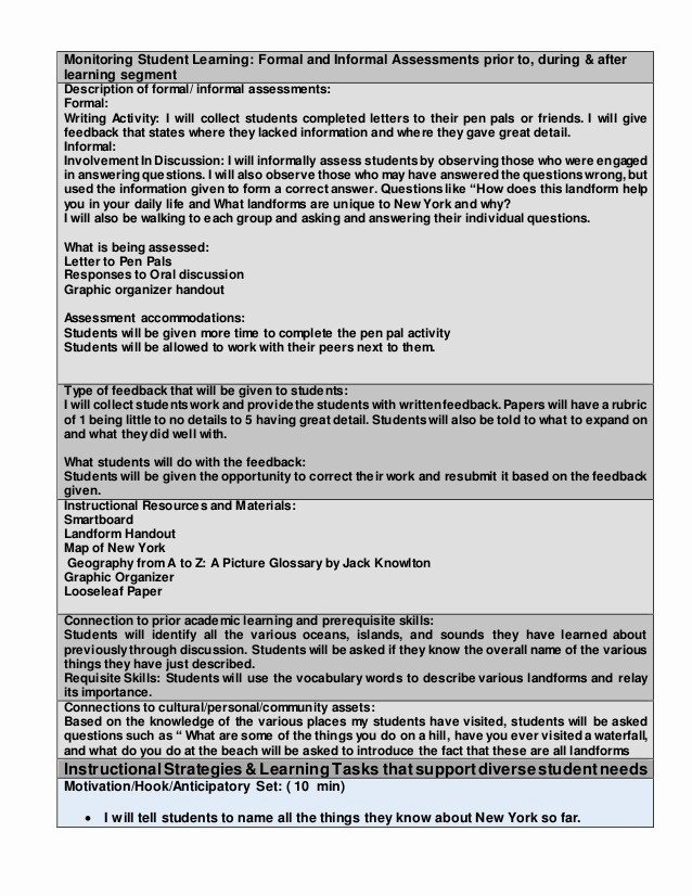 Lesson Plan Template Nyc Beautiful Edtpa Lesson Plan Template Math