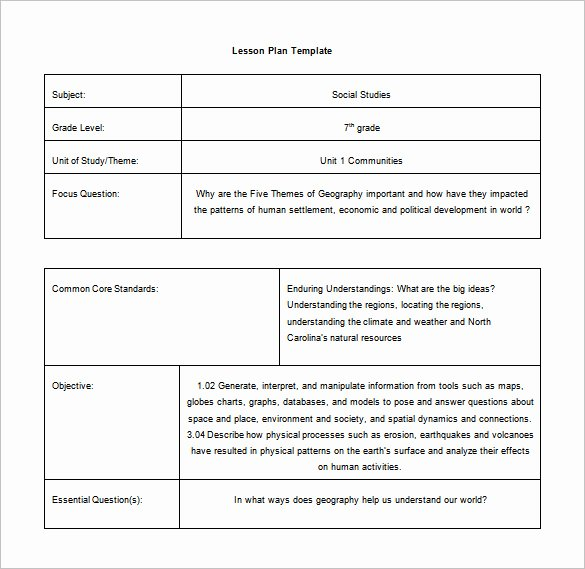Lesson Plan Template Nyc Lovely Mon Core Lesson Plan Template