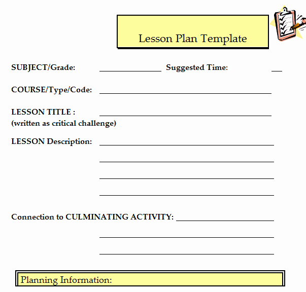 Lesson Plan Template Word Doc Beautiful 41 Free Lesson Plan Templates In Word Excel Pdf
