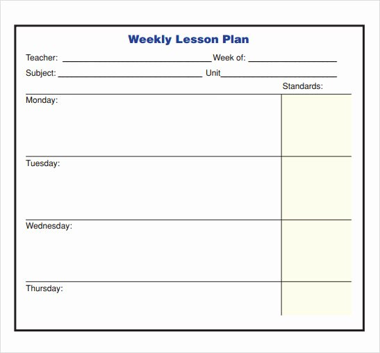 Lesson Plan Template Word Doc Fresh Free 8 Sample Lesson Plans In Pdf