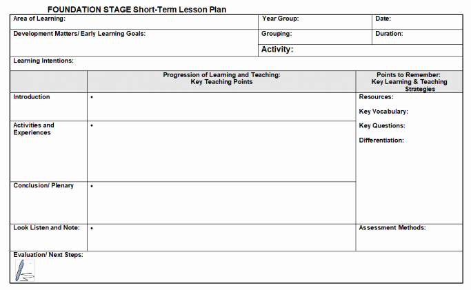 Lesson Plan Template Word Doc Lovely Lesson Plan Template for Eyfs