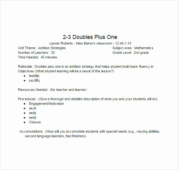 Lesson Plan Template Word Doc New Free 8 Sample Lesson Plans In Pdf