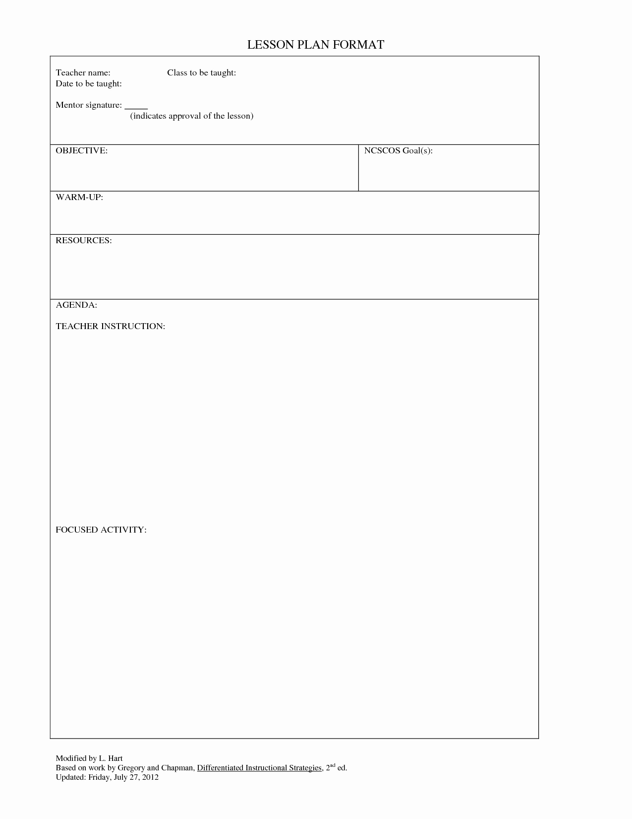 Lesson Plans Blank Template Elegant Blank Lesson Plans for Teachers