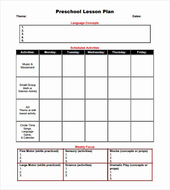 Lesson Plans Blank Template Fresh Free 10 Sample Preschool Lesson Plans In Google Docs