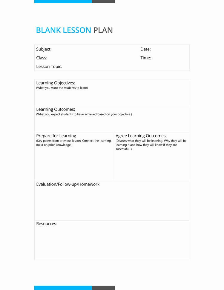 Lesson Plans Blank Template Lovely 14 Free Daily Lesson Plan Templates for Teachers