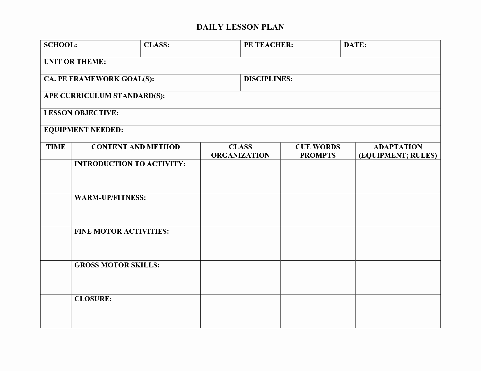 Lesson Plans Template Elementary Luxury Pe Lesson Plan Template