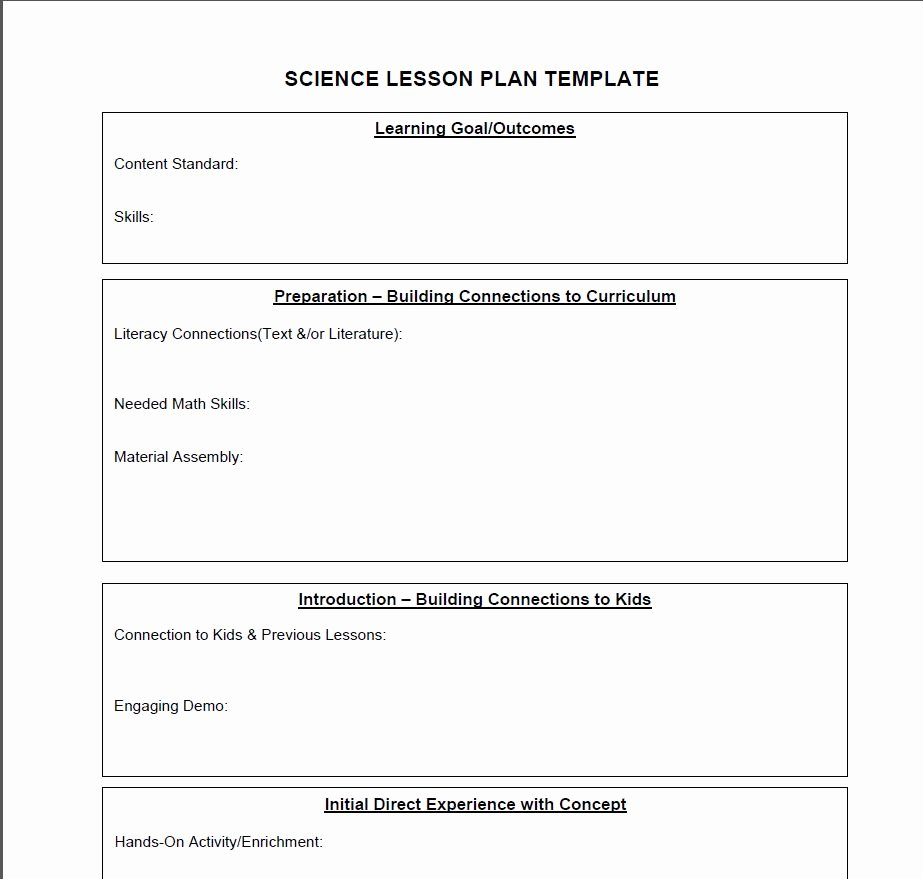 Lesson Plans Template Elementary Luxury Science Lesson Plan Template
