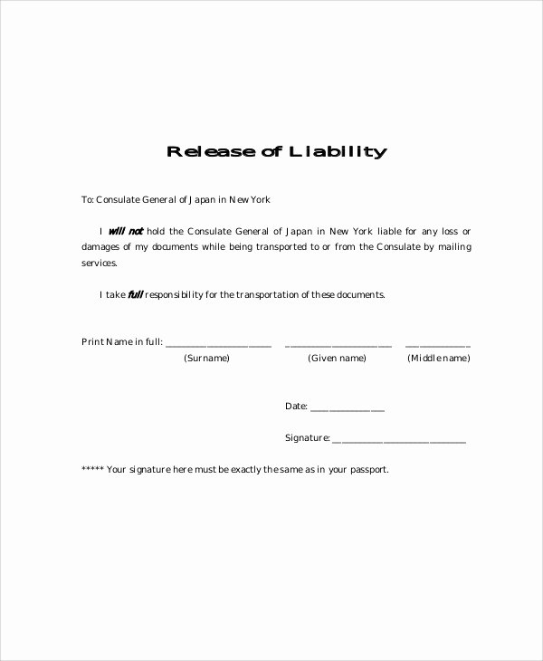 Liability form Template Free Awesome Sample Free Release Of Liability form 9 Examples In