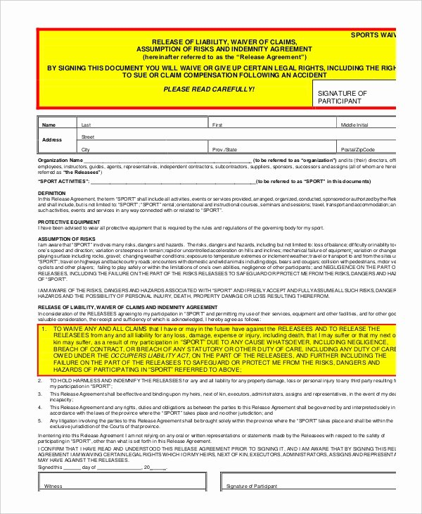 Liability form Template Free Beautiful 11 Liability Waiver form Templates Pdf Doc