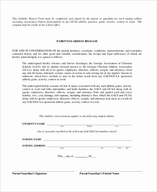 Liability form Template Free Beautiful Sample Liability Waiver form 10 Examples In Word Pdf