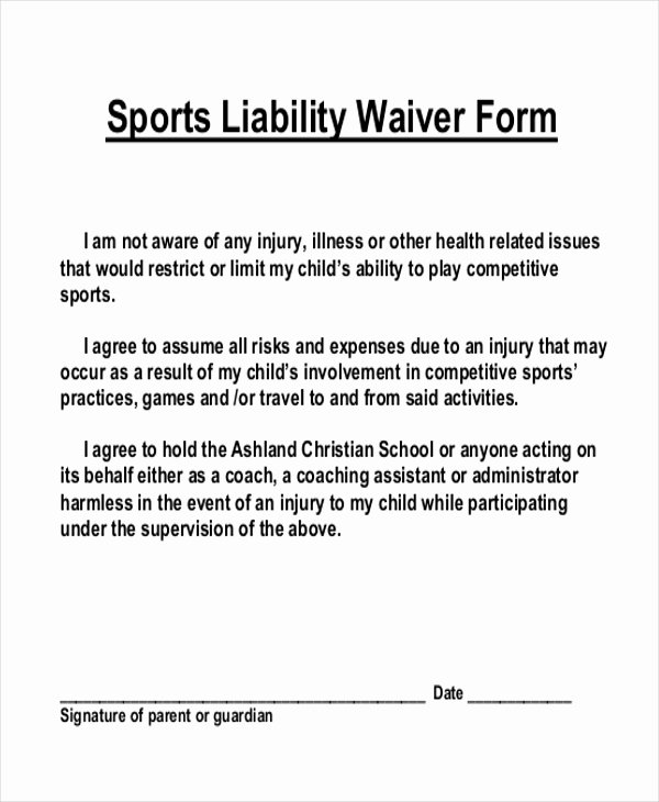 Liability form Template Free Elegant Free 11 Sample Liability Waiver forms