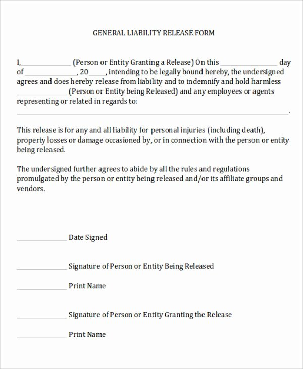 Liability form Template Free Elegant General Release Of Liability form Sample 7 Examples In