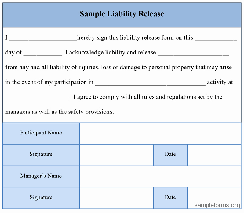 Liability form Template Free Fresh Free Printable Liability Release form Template form Generic