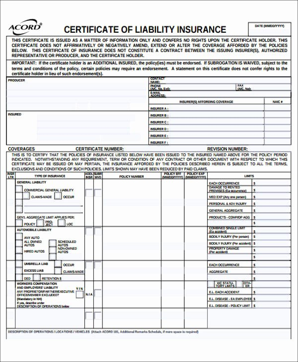 Liability form Template Free Inspirational Sample General Liability Release form 7 Examples In