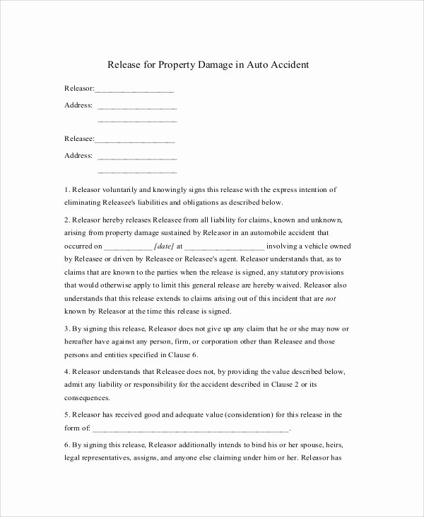 Liability form Template Free Inspirational Sample Release Of Liability form 9 Examples In Pdf Word