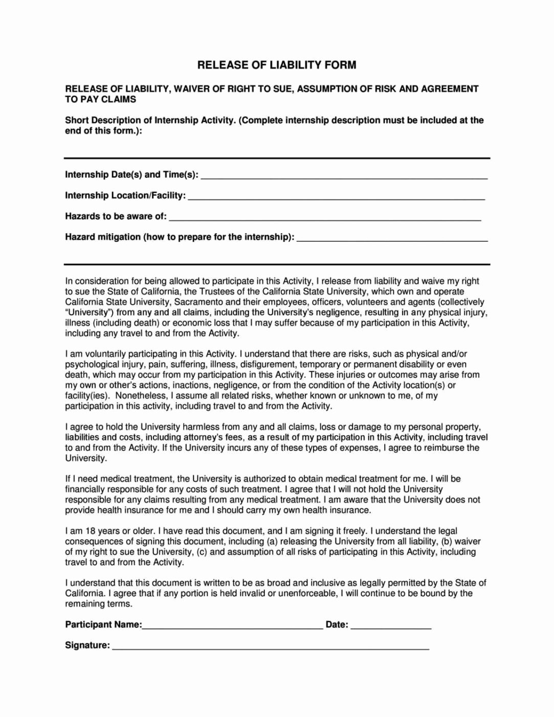 Liability form Template Free Inspirational Yoga Waiver form Template – Blog Dandk