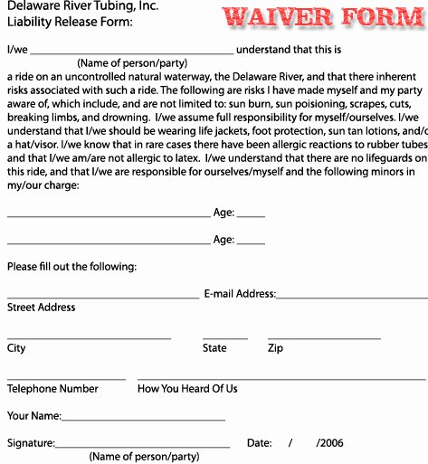 Liability form Template Free Lovely Free Printable Liability Waiver forms form Generic