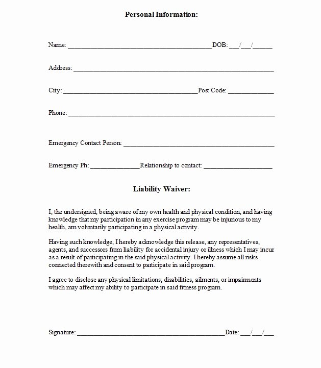 Liability form Template Free Lovely Personal Injury Waiver form – Emmamcintyrephotography