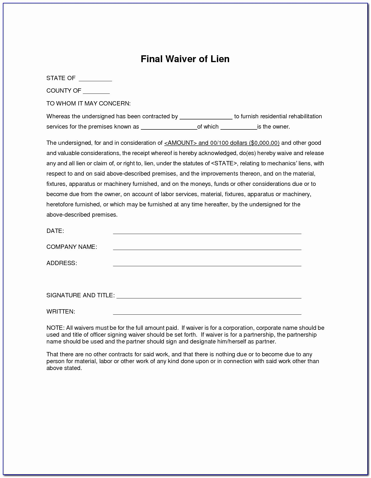 Lien Waiver form Template Beautiful Final Waiver and Release Lien form