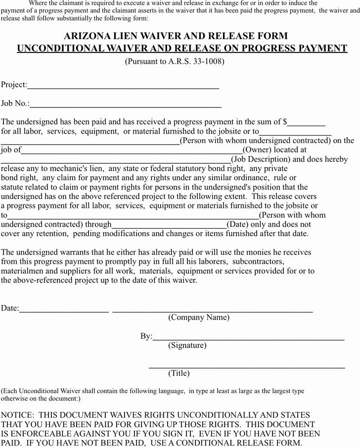 Lien Waiver form Template Beautiful Lien Release Template Free Template Download Customize