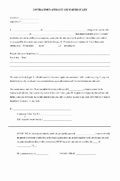 Lien Waiver form Template Best Of Lien Waiver Pdf form Free Other