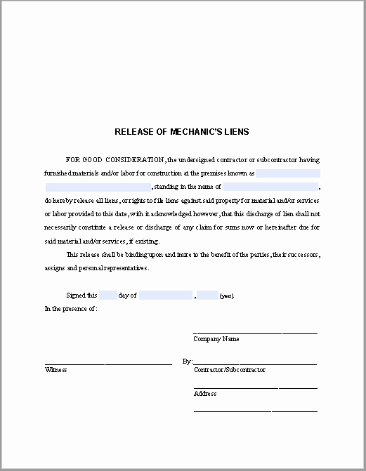 Lien Waiver form Template Lovely Release Of Mechanic's Liens Certificate Template Free