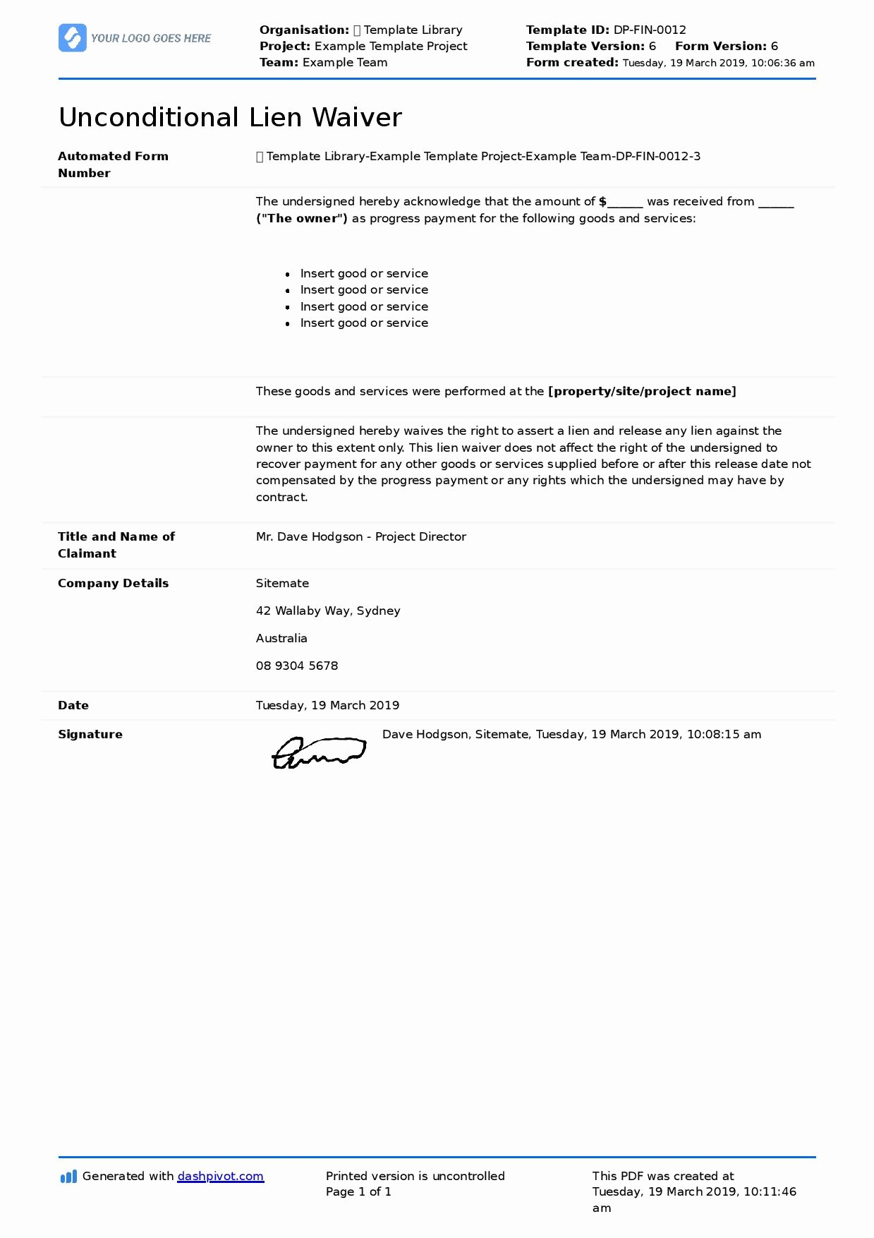 Lien Waiver form Template Lovely Unconditional Lien Waiver Template for Any Unconditional