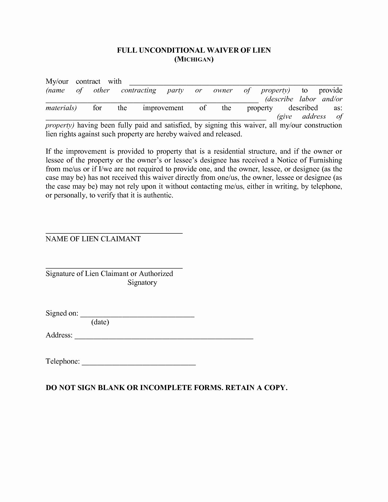 Lien Waiver form Template New 28 Of Waiver Template