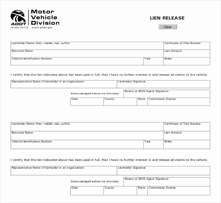 Lien Waiver form Template Unique Free 11 Lien Release Sample forms In Word