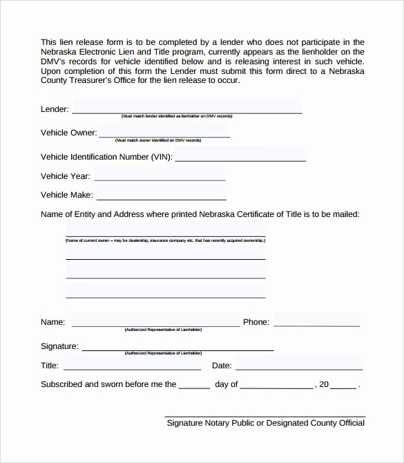 Lien Waiver form Template Unique Sample Lien Release form 8 Download Free Documents In Pdf