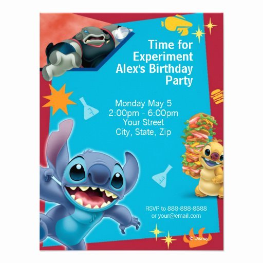 "Lilo and Stitch Invitation Template Awesome Lilo & Stitch Birthday Invitation 4 25"" X 5 5"" Invitation"