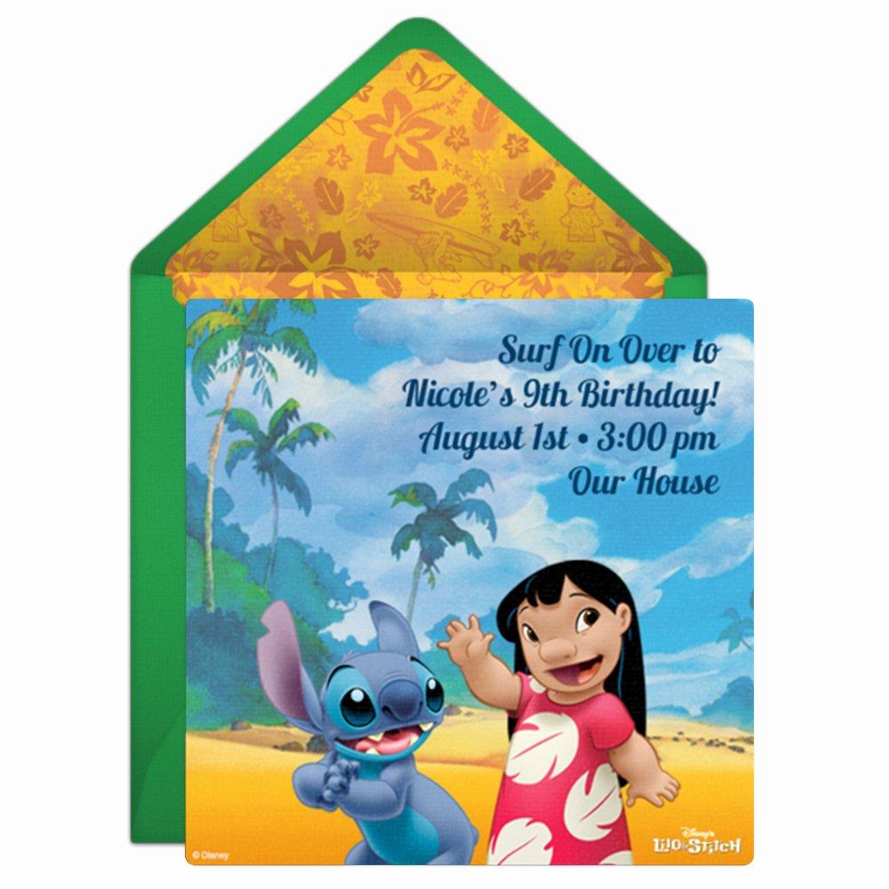 Lilo and Stitch Invitation Template Awesome Lilo & Stitch Line Invitation for Kids Parties