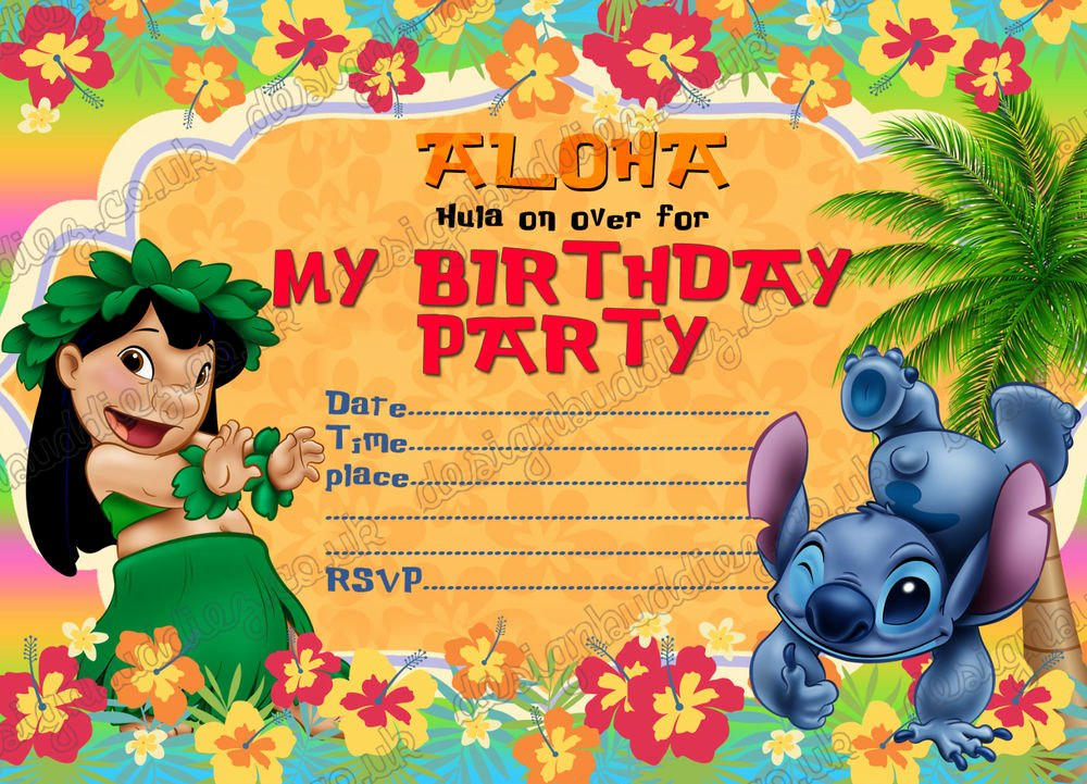 Lilo and Stitch Invitation Template Best Of Birthday Party Invitations Lilo and Stitch Summer Party