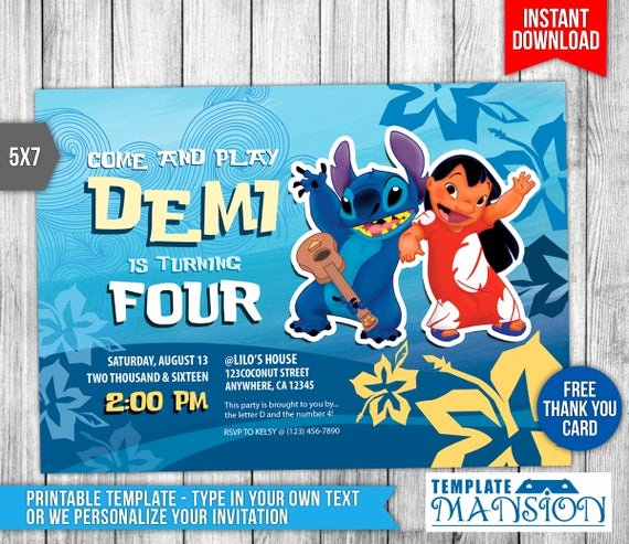 Lilo and Stitch Invitation Template Best Of Lilo and Stitch Invitation Lilo and Stitch by Templatemansion