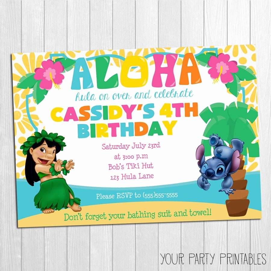 Lilo and Stitch Invitation Template Best Of Luau Invitation Lilo and Stitch Luau Invitation Lilo and