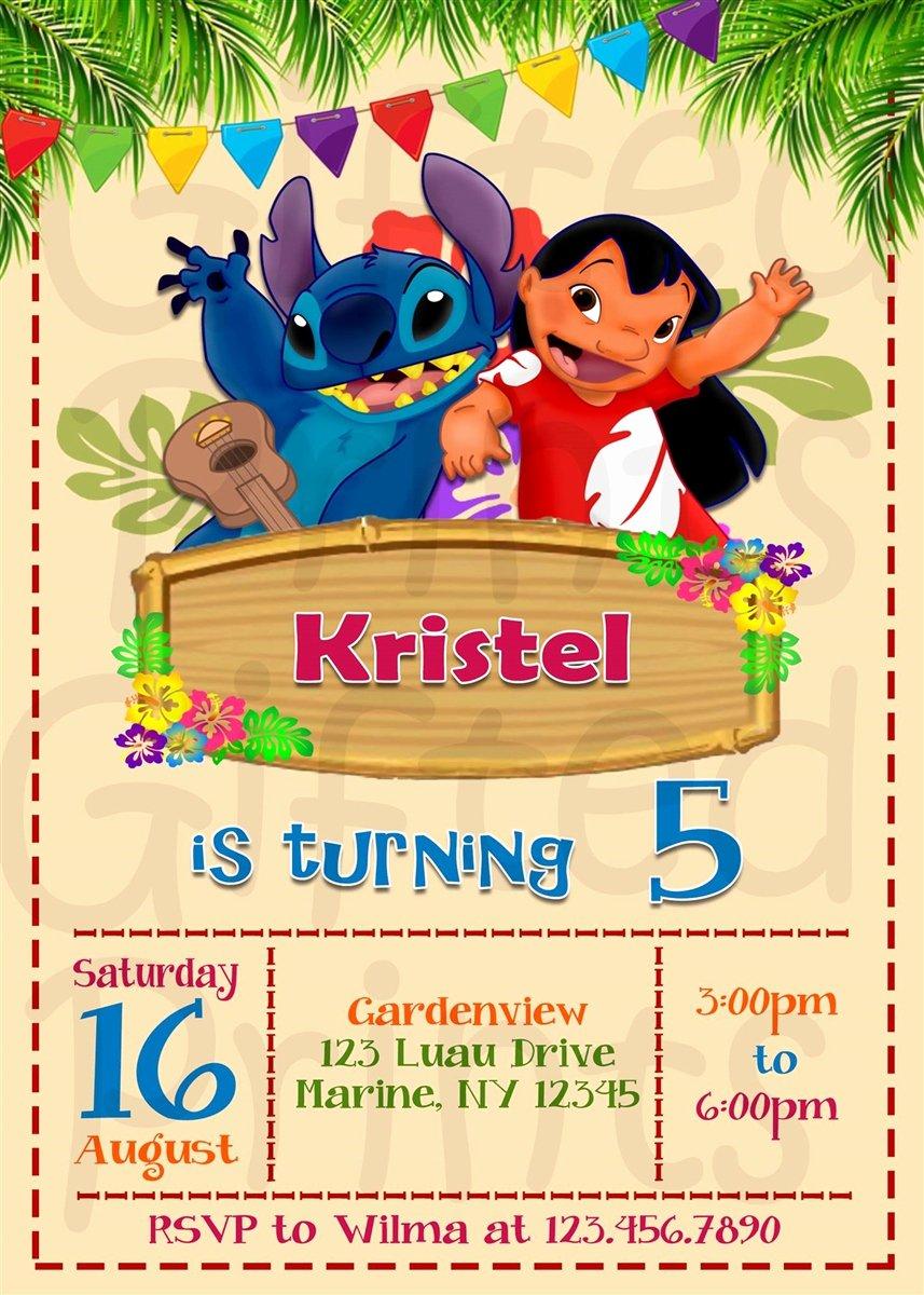Lilo and Stitch Invitation Template Elegant Birthday Invitation Lilo and Stitch theme