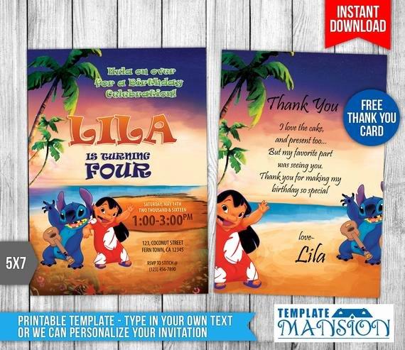 Lilo and Stitch Invitation Template New Lilo and Stitch Invitation Lilo and Stitch by Templatemansion