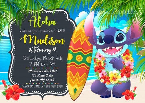 Lilo and Stitch Invitation Template Unique Stitch Birthday Invitation Lilo and Stitch Luau Party