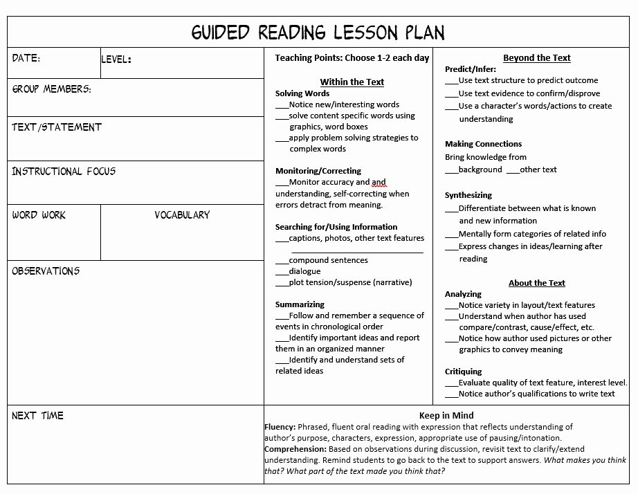 Literacy Lesson Plan Template Best Of Make Guided Reading Manageable