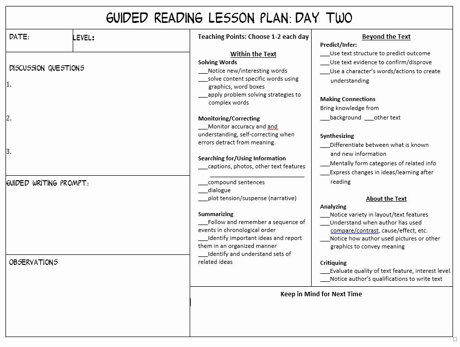 Literacy Lesson Plan Template Lovely 3rd Grade Guided Reading Lesson Plan Template Make Guided