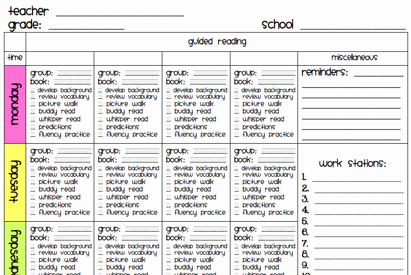 Literacy Lesson Plan Template Luxury Ms M S Blog New Guided Reading Template