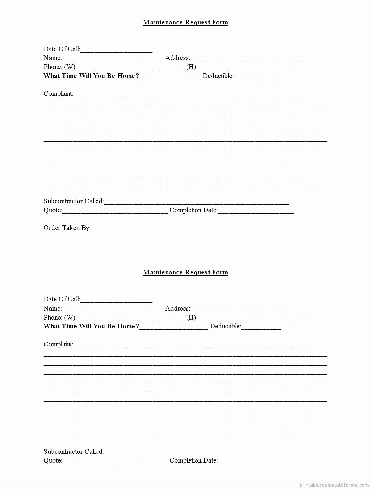 Maintenance Service Request form Template Awesome Free Maintenance forms Maintenance Request form Word